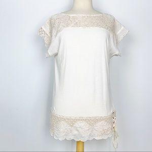 Anthro Deletta cream lacy tunic length top L